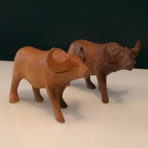 Solid Wood Carved Water Buffalo